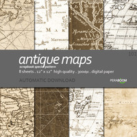"Digital Paper + 101_Antique Maps + Scrapbook Quality Paper Pack  (12x12""- 300 dpi)  8 sheet pack paper  + Instant Download +"