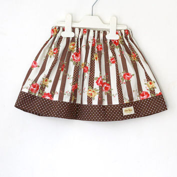 Girl's Skirt, Brown Rose Stripe toddler skirt, school skirt, play skirt, children fashion outfit