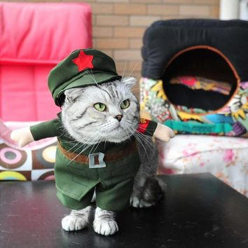 PACGOTH Cat Costumes Funny Cosplay Soldier Pet Clothes Halloween Christmas Party Puppy Dog Suit for Spring Summer Autumn Winter