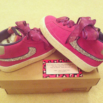 Custom Childrens Nike Pink Vintage Blazers Encrusted w/Swarovski Crystals Any size