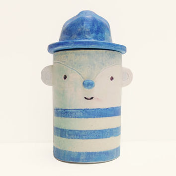 Small White Jar - Hand Painted Bear Storage Jar or Pot with Blue Hat Lid