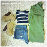 Stripes and Military Jacket Outfit Inspiration   Love Shopping Miami