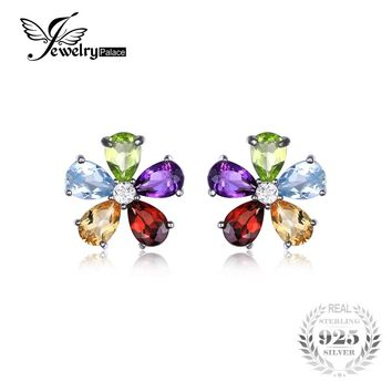 JewelryPalace Flower 4.3ct Multicolor Natural Amethyst Citrine Garnet Peridot Blue Topaz Stud Earrings Solid 925 Sterling Silver