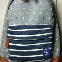 European Navy Style Anchor Stripe Print Backpack from styleonline