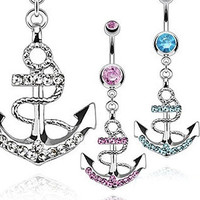 Rhinestone Anchor Dangle Button Barbell Belly Navel Ring Bar Body Piercing 3 COLOUR 1PC [7983632199]