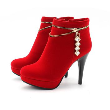 Ankle-High Boots  Round Toe Warm Winter Boots
