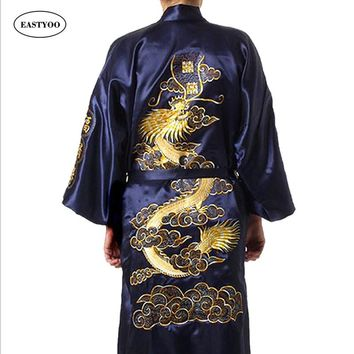 Dragon Silk Robes Men Satin Pajamas Belt Silk Pijamas Plus Size Pijamas Sleepwear Lounge Japanese Robe Kimono Male Bathrobe