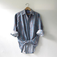 vintage denim shirt. tribal print shirt. washed out shirt. button down shirt.