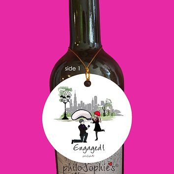 Chicago Bean Engagement Wine Tag/Ornament