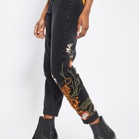 MOTO Tiger Embroidered Mom Jeans | Topshop