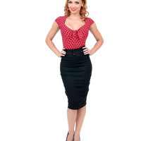 Black Belted High Waist Pencil Skirt