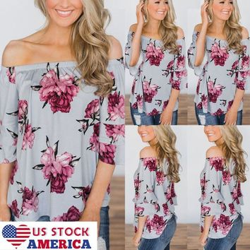 US Womens Sexy Off Shoulder Floral Blouse Tops Summer Holiday T-shirt Loose Tee