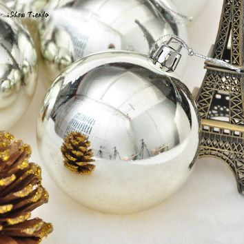 ISHOWTIENDA 2017 New 6Pcs Silver Christmas Balls Baubles Party Xmas Tree Hanging Ornament Decor Christmas Tree Decorations