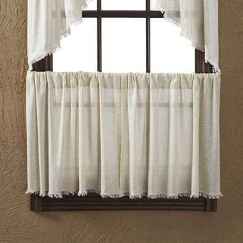 """Tobacco Cloth Natural Fringed Tier Curtains 24"""""""