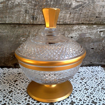 Large Pressed Glass and Gold Covered Dish, Satin Gold and Clear Glass, Candy Dish, Art Nouveau, Clear Pressed Glass, Heavy Glass Dish,