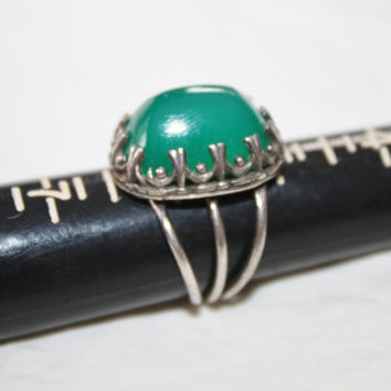 Art Deco Ring Chrysoprase Sterling Chunky Vintage 1930s Jewelry