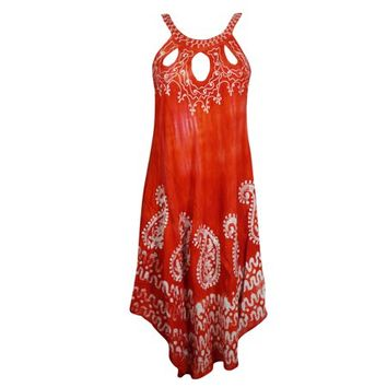 Mogul Women Summer Tank Dress Embroidered Batik Embroidered Relaxed Fit Sleeveless Cutout Neck Beach Coverup Caftan M - Walmart.com