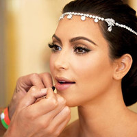 Kim Kardashian Inspired Wedding Bridal Forehead Tiara + Earrings Prom Pageant Hair Band Party