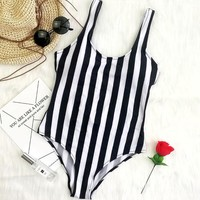 Color striped black white swimming suit for women sport one piece swimsuit for girls Leotard female swimwear women 2018 monokini