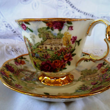 Vintage Teacup and Saucer, Royal Albert, 25th Anniversary, Old Country Roses Pattern, Bridal or Baby Shower Tea, Bridesmaid Gift, BR124