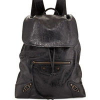 Classic Traveler Leather Backpack, Black - Balenciaga