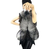 ETOSELL Women Faux Fur Shaggy Vest Warm Winter Long Hair Coat Jacket
