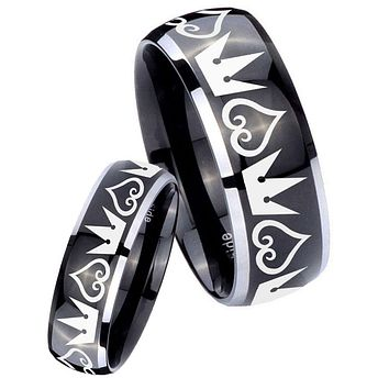 His Hers Gossy Black Dome Hearts and Crowns 2 Tone Tungsten Wedding Rings Set