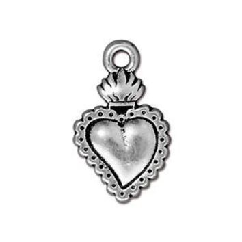94-2322-12 - TierraCast Antique Silver Pewter Milagro Heart Charm, 13x22mm | Pkg 2