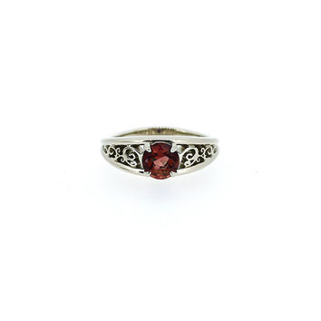 Garnet filigree ring, engagement ring, filigree, red engagement, solitaire ring, garnet wedding ring, unique, nickel free engagement, red