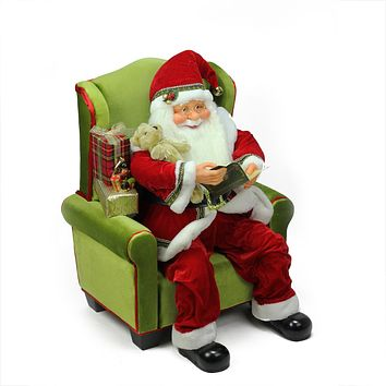 "32"" Jolly Santa Claus Sitting in Green Arm Chair Christmas Figure Decoration"