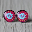 Fake Plugs : Teal, Red and Black Scalloped Stud Earrings, Fake Plugs, Cabochon, Floral, Round, ArtisanTree