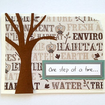 One Step At A Time - Recovery, Sympathy, Get Well Soon, Thinking of You Nature - inspired Tree and Bird Handmade Greeting Card