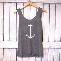 FREE SHIPPING - Anchor Tank Top, Striped Anchor Top, Nautical Top, Anchor Top (women, teen girls)