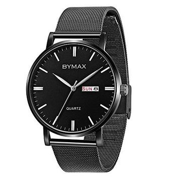 Bymax Mens Fashion Casual Watch Slim Analog Quartz Wrist Watches With Black Stainless Steel Mesh Band