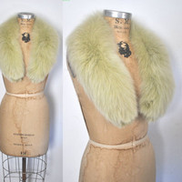 RARE Green Fox Fur Collar / 1960s