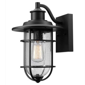 Globe® 44094 Outdoor Wall Sconce w/ Seeded Glass Shade, Black