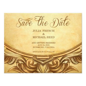 Golden Rustic Vintage | Save the Date Card