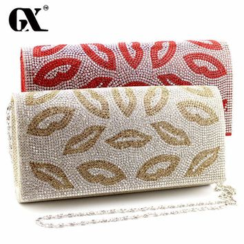 GX Lady Red Lip Design Clutch Women Messenger Bags Chain Bag Handbag High Quality Evening Bag Women's Pouch Purse 2016