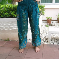 Cerulean High Waist Yoga Pants Peacock Harem Boho Printed Unisex Casual Aladdin Fisherman Hippie Massage Rayon pants Gypsy Thai Handmade