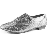 Women's Wild Rose Goer-01 Silver Glitter Oxford Snearker Flats Shoes, Silver, 6