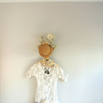 Lace ruffle shirt, crochet top, rustic farm girl clothing, gypsy cowgirl glam, magnolia white, shabby ecru, true rebel