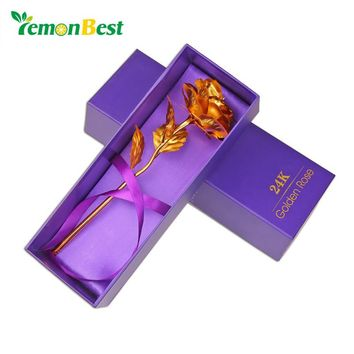 LemonBest 24K Gold Foil Plated Rose Wedding Decoration Flower Valentine's Day Gift