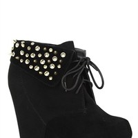 Lace Up Wedge Suede Bootie with Studded Cuff