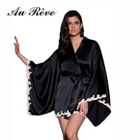 Au Reve Hot Lingerie Black Nightgown Women Sexy Satin Sleepwear Temptation Silk Bridemaid Bathrobe Erotic Kimono Robe Pajamas