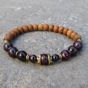 Love and Healing, genuine Garnet and Sandalwood bracelet