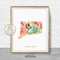 Connecticut Map Art Print Connecticut Art Print Connecticut Decor Connecticut Print Map Artwork Map Print Map Poster ArtPrintZone