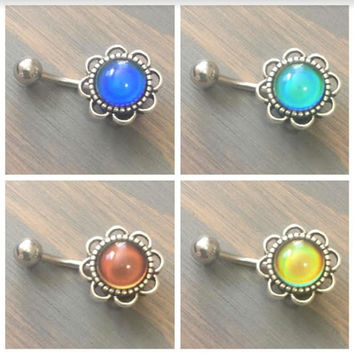 Belly Button Ring Mood Stone Jewelry Color Changing Belly Button Ring Navel Jewelry Piercing Flower Moodstone Bar Barbell Teal Aqua Daisy