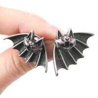 Unique Bat Shaped Two Part Animal Stud Earrings in Silver | DOTOLY