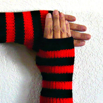 Knit Arm Warmers Knit Gloves Knit Fingerless Gloves Knit Wrist Warmers Knit Fingerless Mittens Knit Hand Warmers Gauntlets Red Black Striped