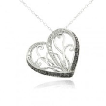 Sterling Silver Black & White Diamond Accent Filigree Floating Heart Necklace